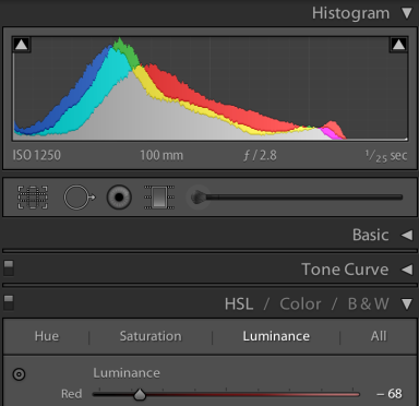 Slide the red Luminance slider to left and the red pixels shift left in the histogram