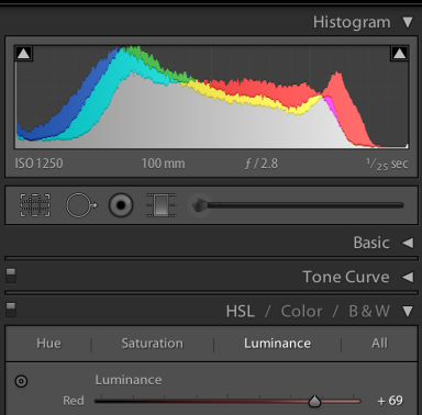 Slide the red Luminance slider to the right and the red pixels shift right in the histogram