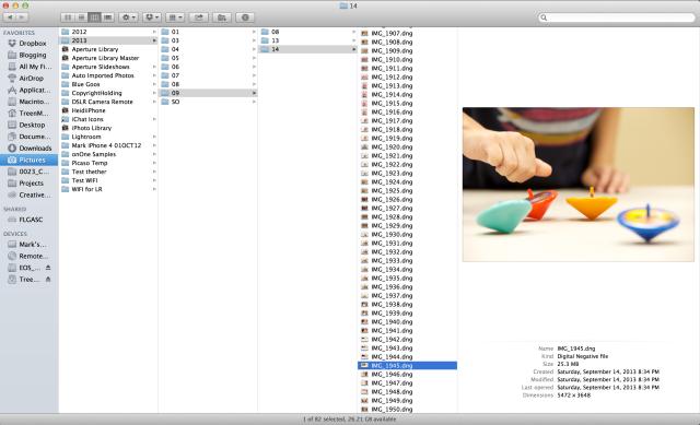 Folder structure after importing using Lightroom