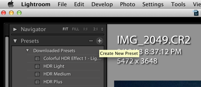 Creating an import preset photo